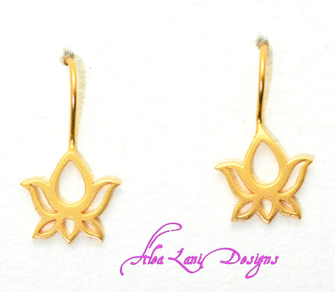 24k Gold Vermeil Small Lotus 6 petal earrings