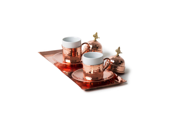 Copper Coffee Set, Espresso Set, Red - AHENQUE