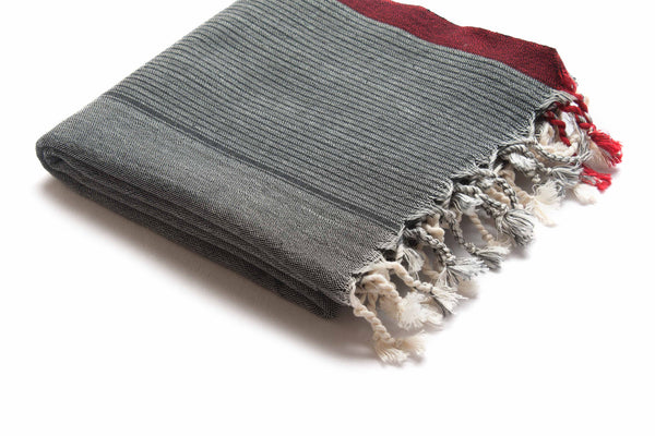 Handloomed Turkish Towel, Peshtemal/Beach Towel/Shawl, Grey, Red - AHENQUE