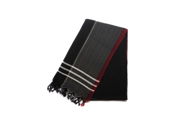 Handloomed Turkish Towel, Peshtemal/Bath Towel/Shawl, Black, Red - AHENQUE