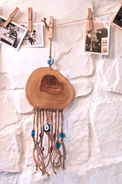 Wood Wall Hanging with Evil Eye Beads (Blue Beads) 2 /Round Wood Wall Talisman - AHENQUE