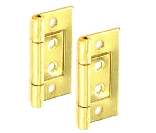 Steel Flush Hinge H50 x W25 x T1mm Brass Plated