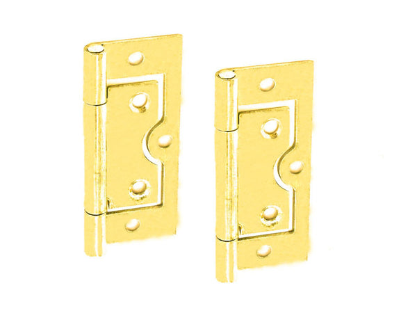 Steel Flush Hinge H60 x W25 x T1mm Brass Plated