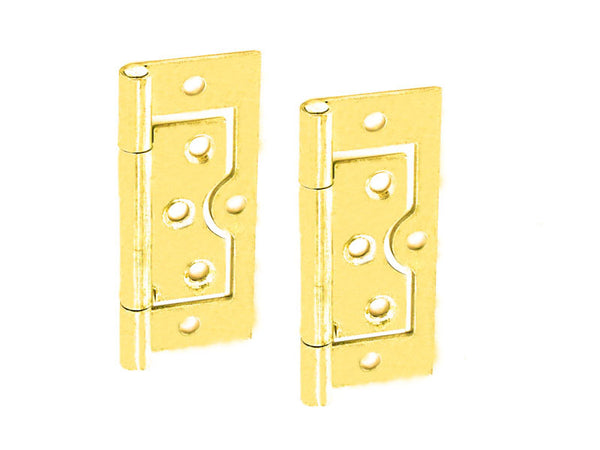 Steel Flush Hinge H75 x W33 x T1mm Brass Plated