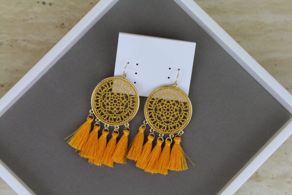 Dreamcatcher Earrings - Yellow