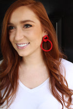 Large Loop Earrings - Red