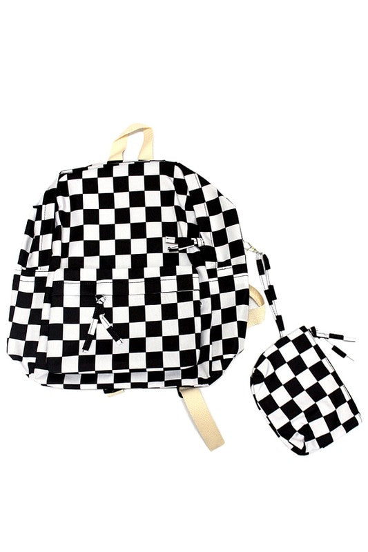 Black Checkered Up Backpack - Madison + Mallory