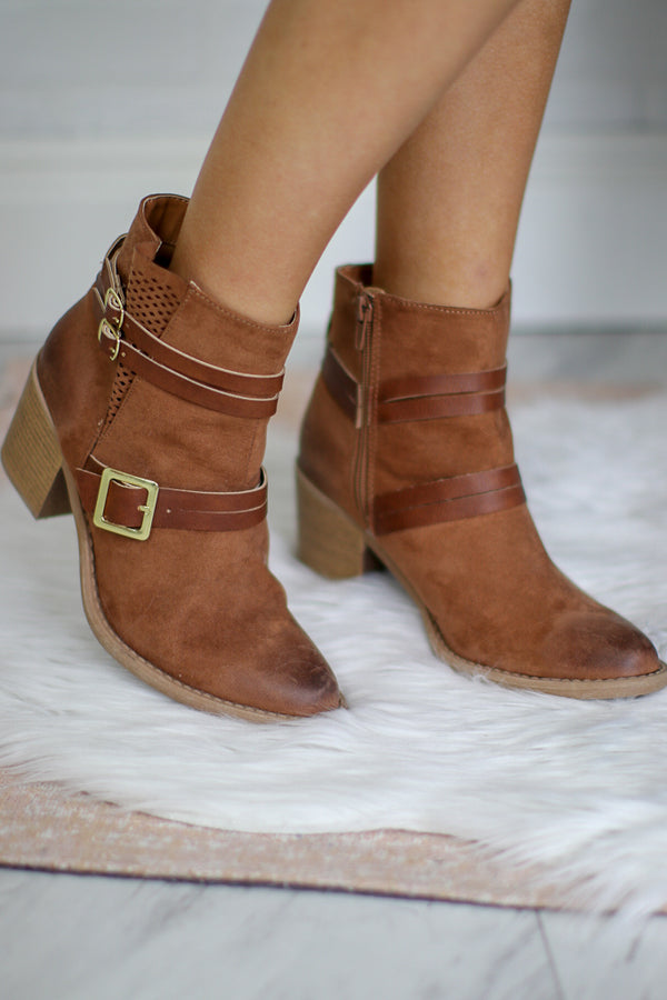 6 / Camel Camel Buckled Bootie - FINAL SALE - Madison + Mallory
