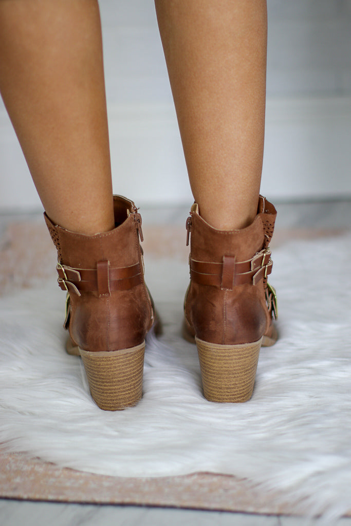 Camel Buckled Bootie - FINAL SALE - Madison + Mallory