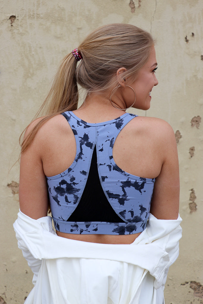 Cloud Print Mesh Sports Bra - FINAL SALE - Madison + Mallory