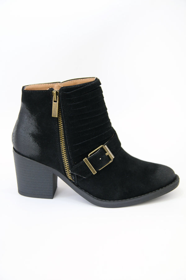 5.5 / Black Black Buckled Bootie - FINAL SALE - Madison + Mallory