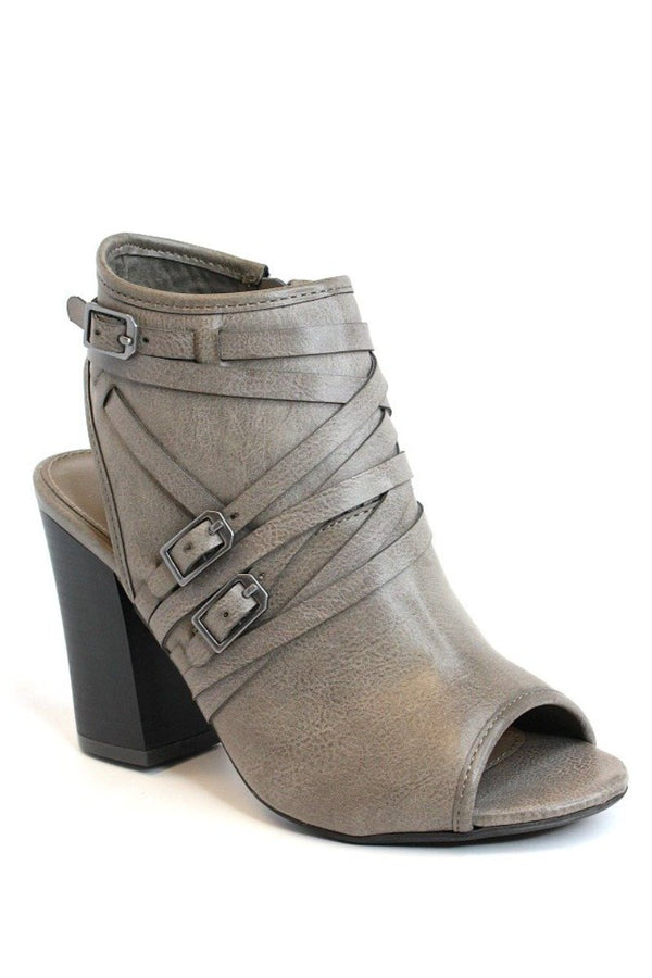6.5 / Gray Buckled Peep Toe Heeled Booties - FINAL SALE - Madison + Mallory