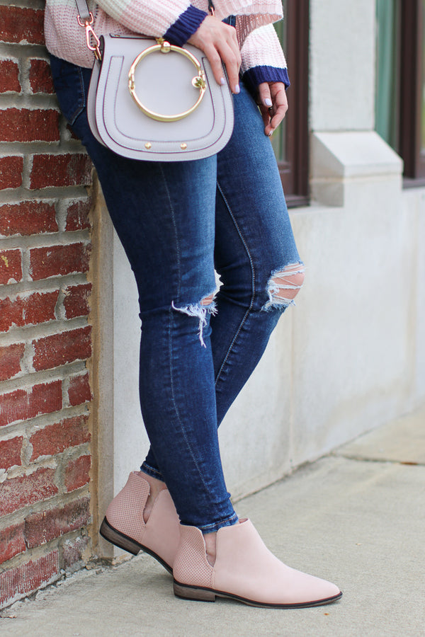6 / Blush Blushing About You Booties - Madison + Mallory
