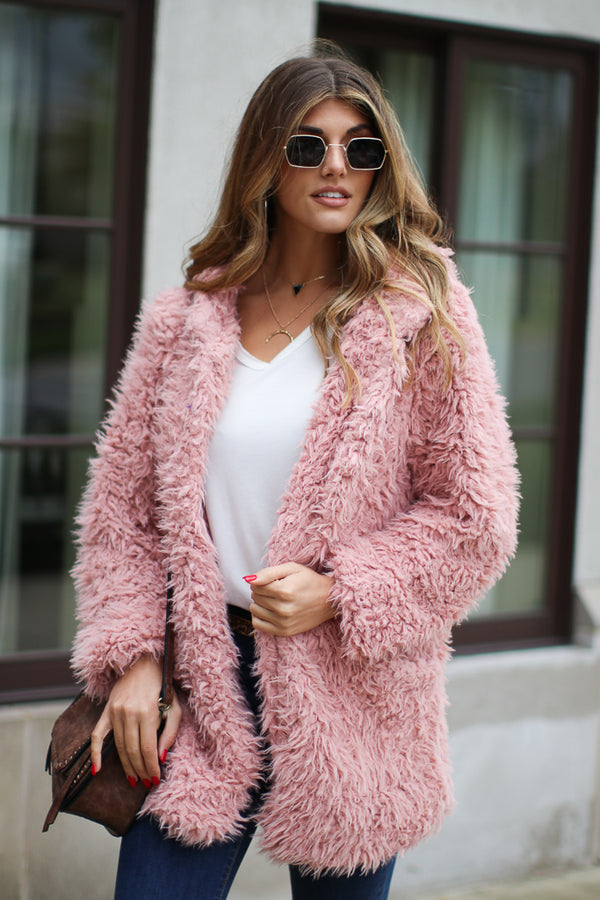 Mauve / S Requested Chic Faux Fur Jacket + MORE COLORS - Madison + Mallory