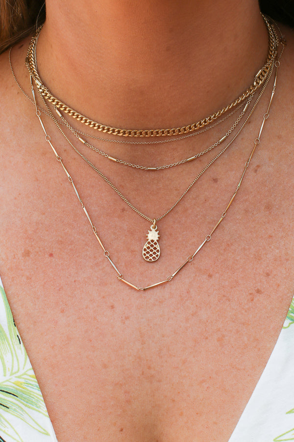 Gold Aloha Isle Pineapple Layered Necklace + MORE COLORS - Madison + Mallory