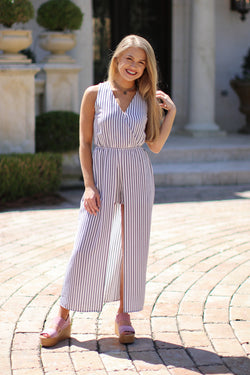 S / White Striped Cut Away Maxi Dress - FINAL SALE - Madison + Mallory