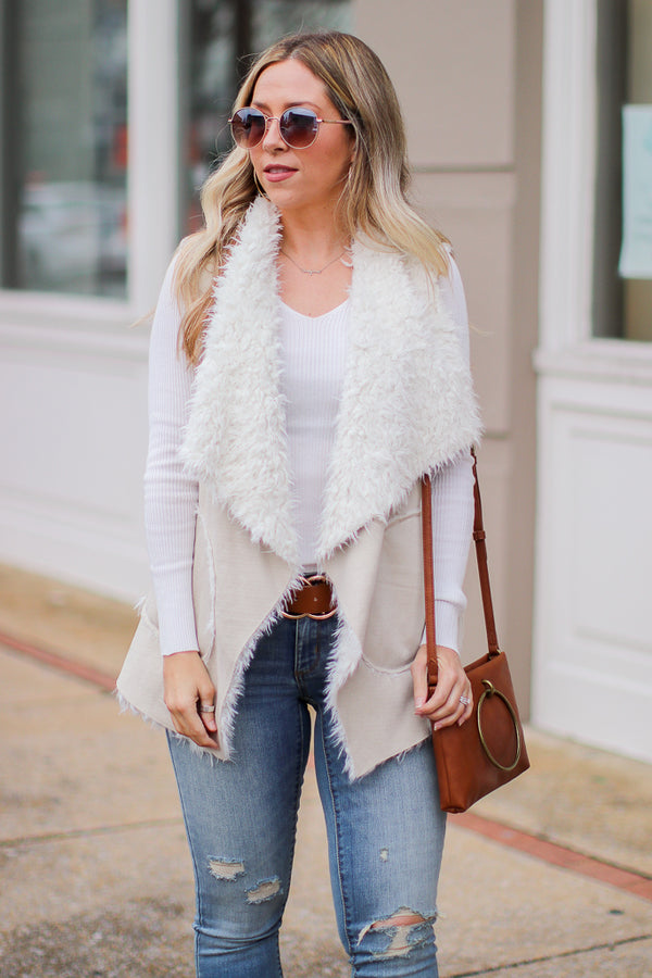 S / Sand Fearlessly Fab Fur Vest - FINAL SALE - Madison + Mallory