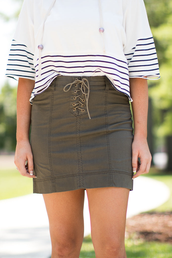 S / Army Lace Up Skirt | Curve - FINAL SALE - Madison + Mallory