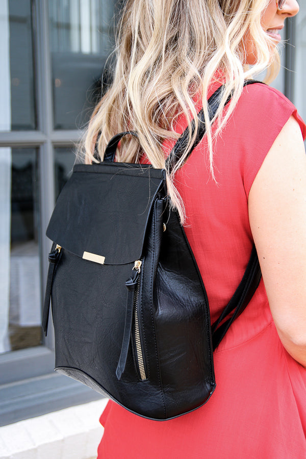 OS / Black Free Bird Faux Leather Backpack - Black - FINAL SALE - Madison + Mallory