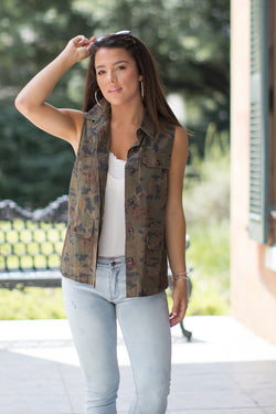 Floral Camo Print Vest - FINAL SALE - Madison + Mallory