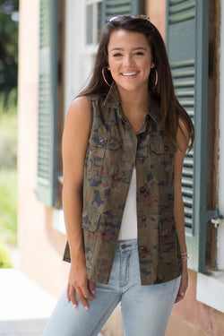 XS / Olive Floral Camo Print Vest - FINAL SALE - Madison + Mallory