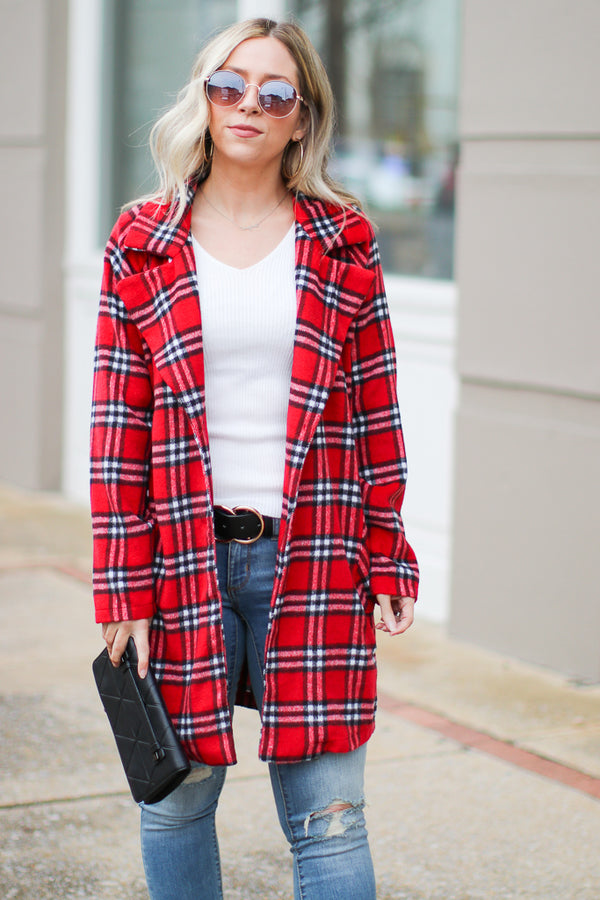 Red / S Harlow Plaid Jacket - FINAL SALE - Madison + Mallory
