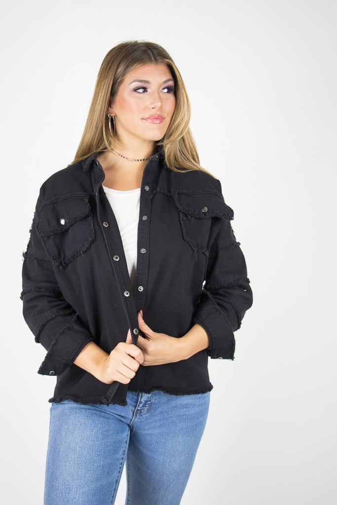 SM / Black Rock with Me Frayed Jacket - Madison + Mallory