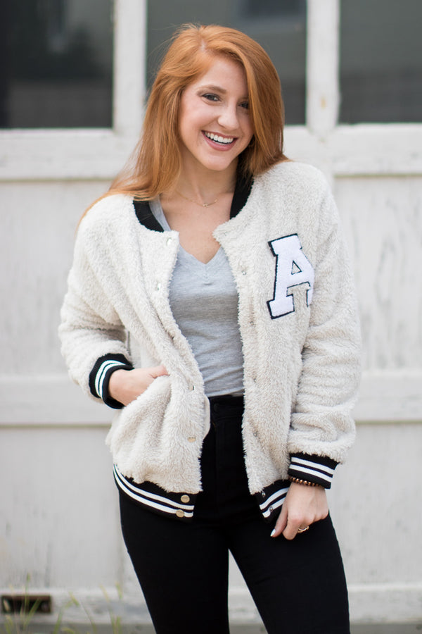 Fuzzy Letterman Varsity Jacket - FINAL SALE - Madison + Mallory