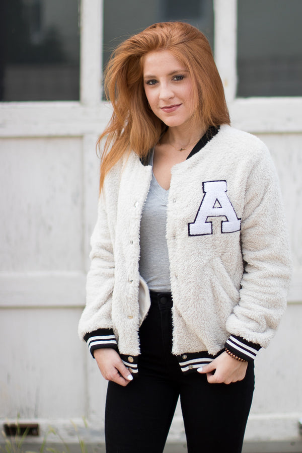 S / Beige Fuzzy Letterman Varsity Jacket - FINAL SALE - Madison + Mallory