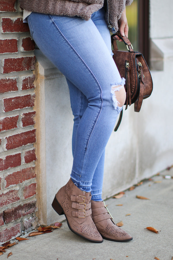 5.5 / Taupe Buckle Down Laser Cut Booties - FINAL SALE - Madison + Mallory