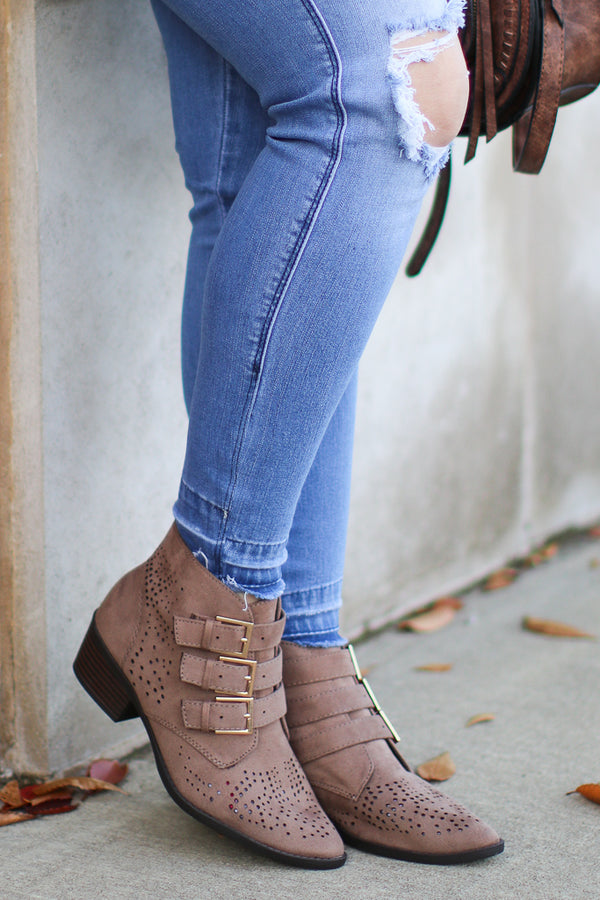 Buckle Down Laser Cut Booties - FINAL SALE - Madison + Mallory