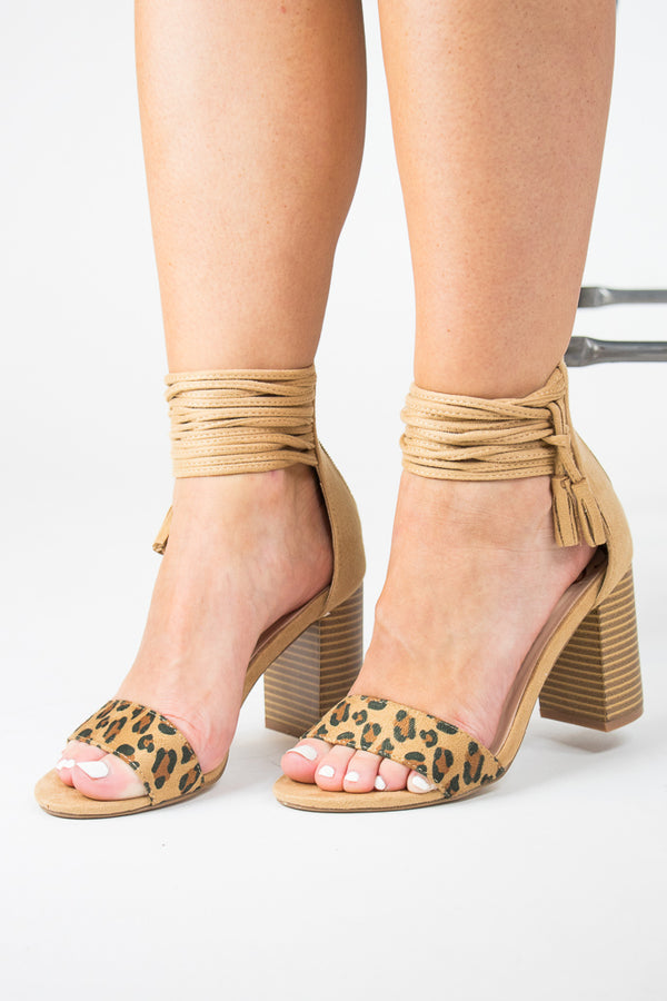 Leopard / 5.5 Tassel Ankle-Wrap Heels + MORE COLORS - Madison + Mallory