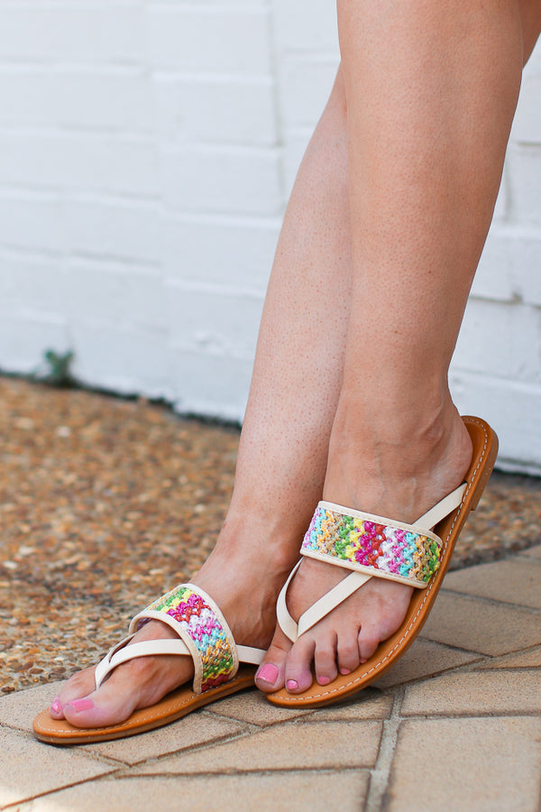 6 / Ivory Shoreline Crochet Detail Sandals - Madison + Mallory