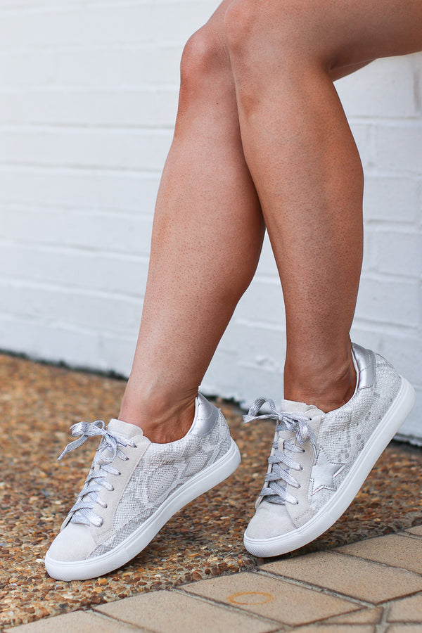 6 / Silver Swinging on a Star Sneakers - Madison + Mallory