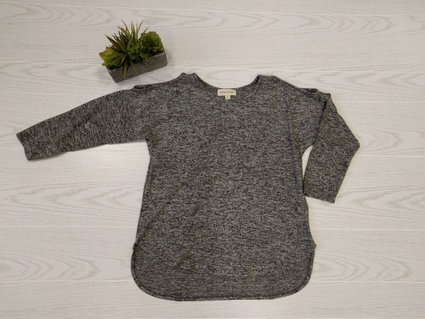 S / Gray Cold Shoulder Brushed Knit Top - FINAL SALE - Madison + Mallory