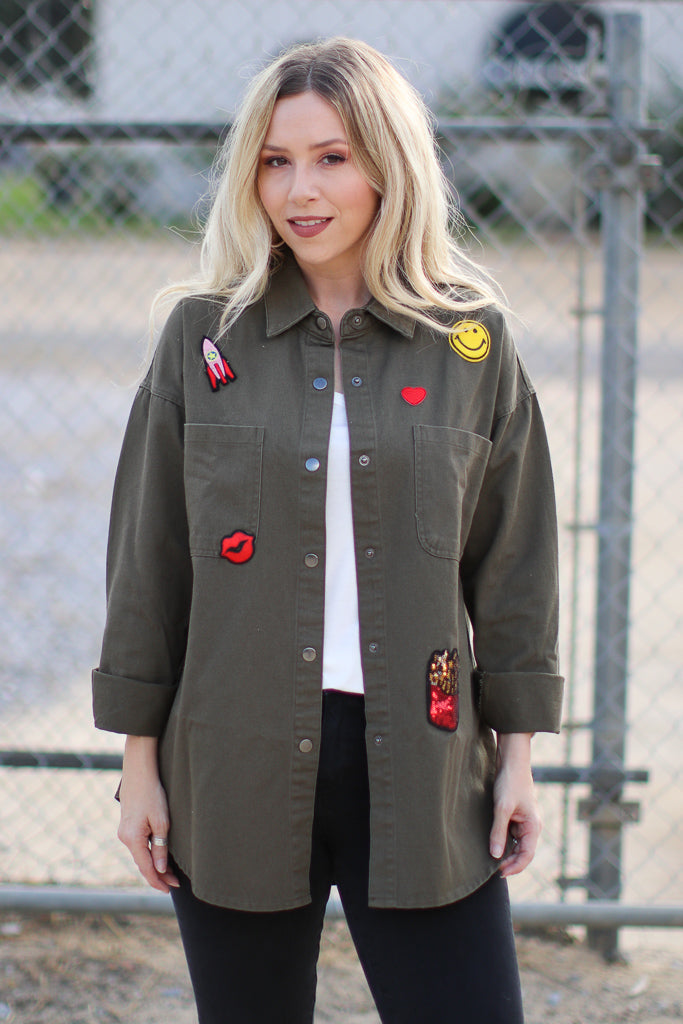 S / Olive Patched Up Jacket - FINAL SALE - Madison + Mallory