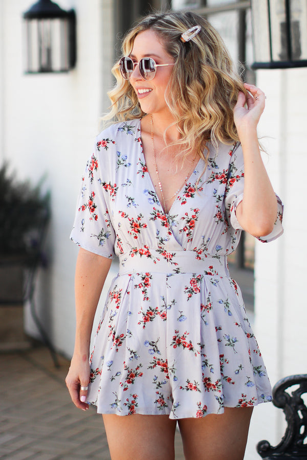 S / Gray Mirage Floral V-Neck Romper - Madison + Mallory