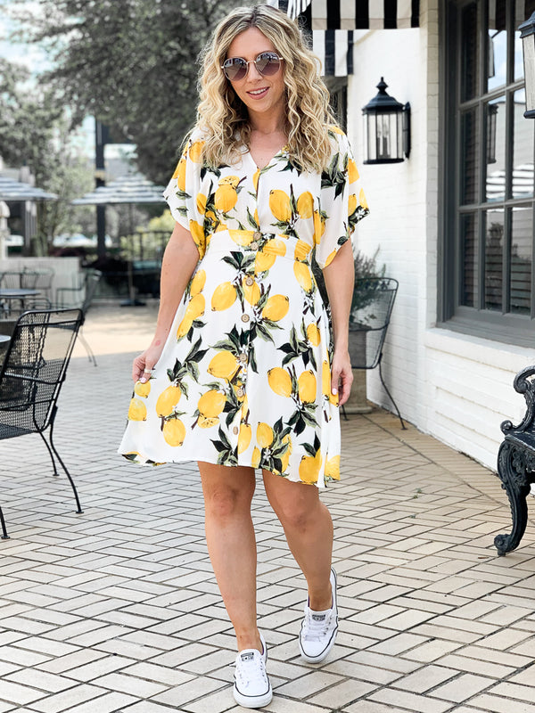The Zest is History Lemon Button Flared Dress | CURVE - Madison + Mallory