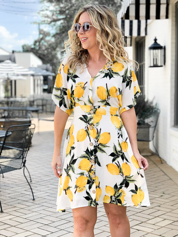 M / White The Zest is History Lemon Button Flared Dress | CURVE - Madison + Mallory