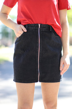 XS / Black Zipped Up Denim Skirt - FINAL SALE - Madison + Mallory