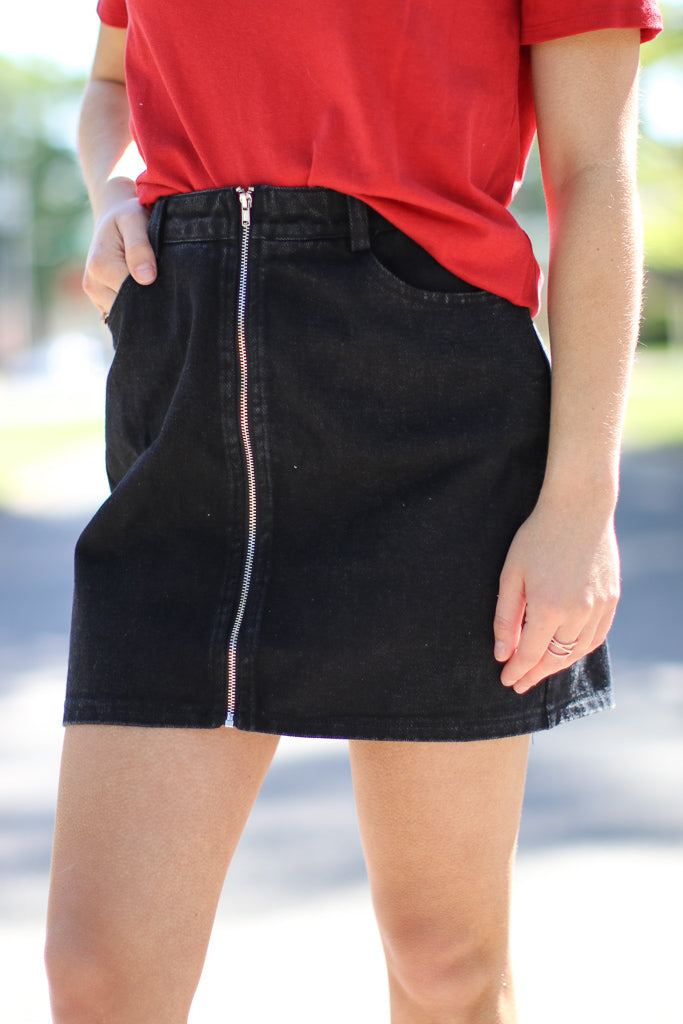 Zipped Up Denim Skirt - FINAL SALE - Madison + Mallory