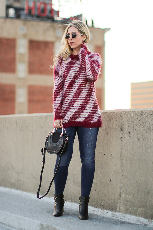 S / Wine Toria Striped Sweater - Madison + Mallory