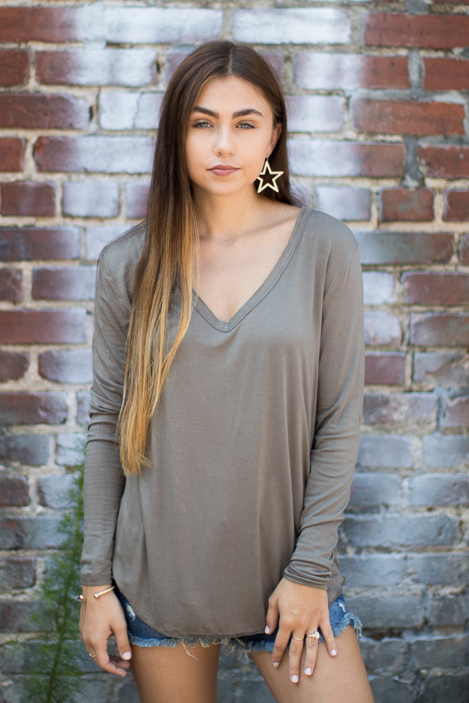 Olive / S Dakota Long Sleeve Top + MORE COLORS - Madison + Mallory