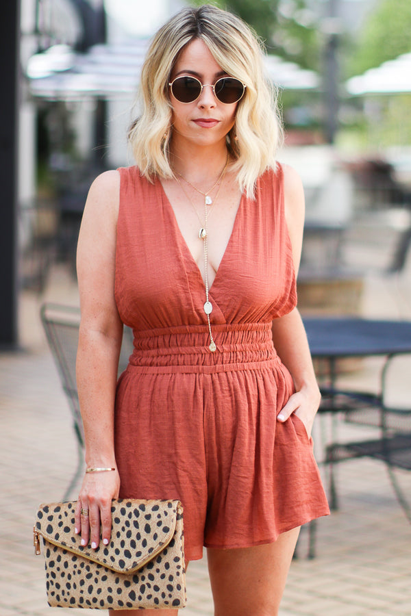 S / Copper Kelby Surplice Front Romper - Madison + Mallory