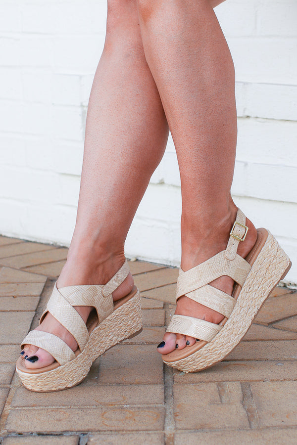 5.5 / Tan See You Move Snake Espadrille Platforms - Madison + Mallory