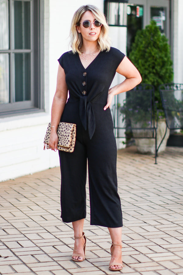 S / Black Fayne Textured Knot Button Jumpsuit - Madison + Mallory