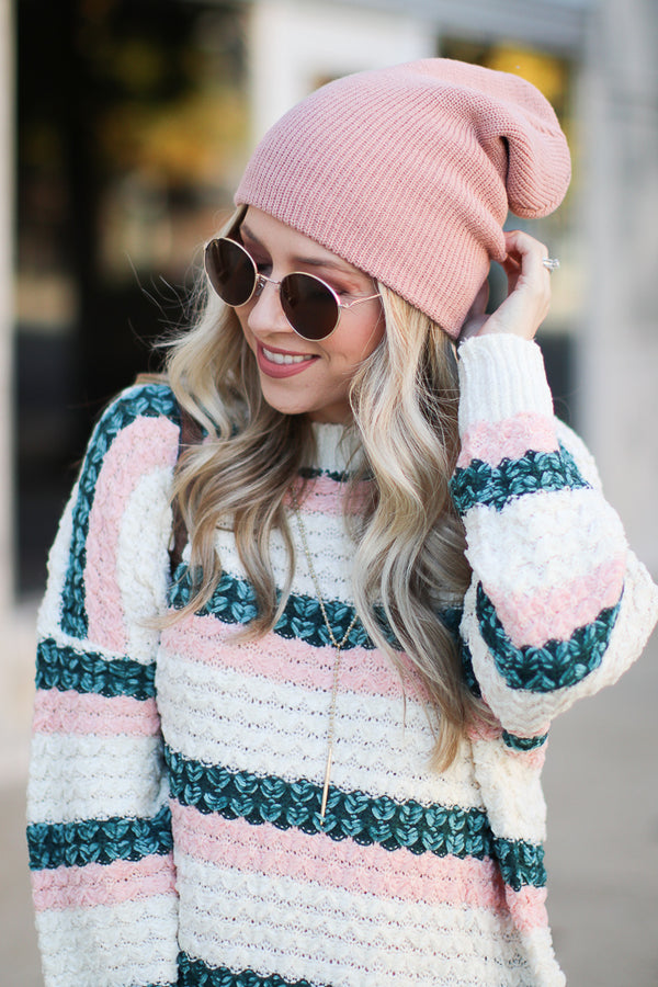 Blush Day in the Snow Knit Beanie - Blush - Madison + Mallory