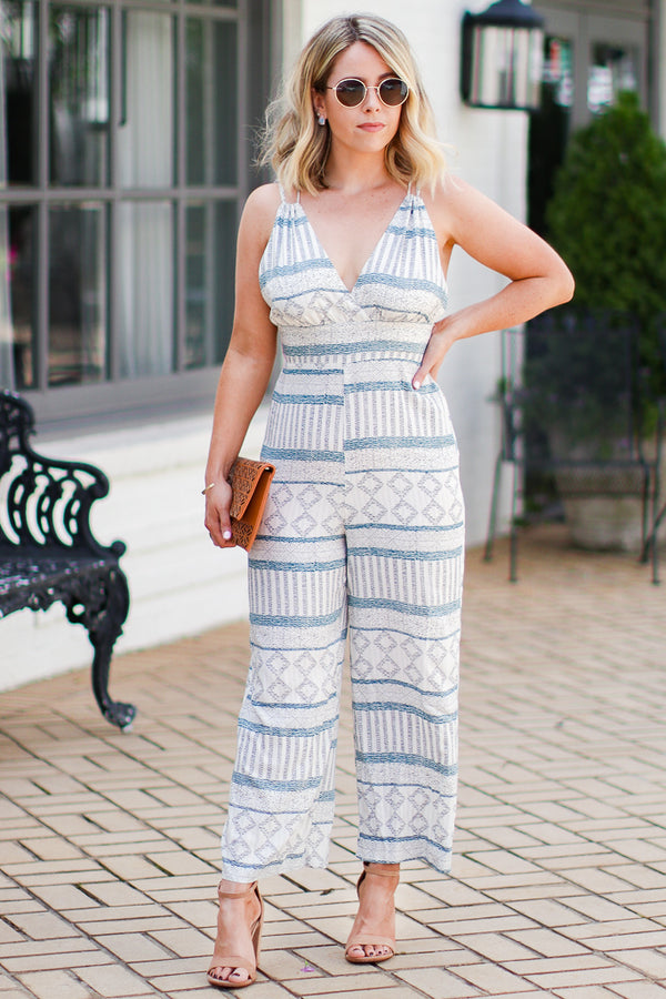 S / Blue Sweet Moments Multi-Print Jumpsuit - Madison + Mallory