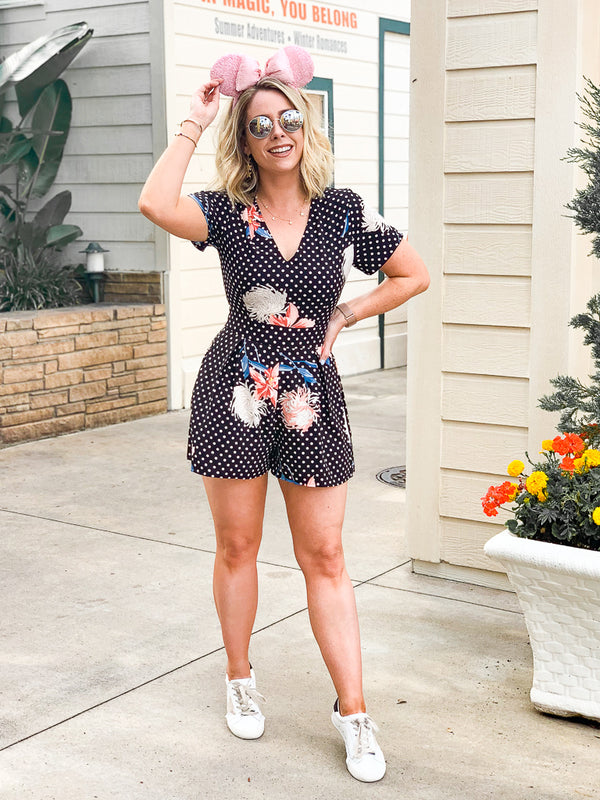 Jeanette Floral and Polka Dots Romper - Madison + Mallory