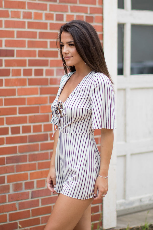 Lace Up Striped Romper - FINAL SALE - Madison + Mallory